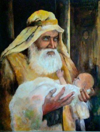 Simon holding Baby Jesus