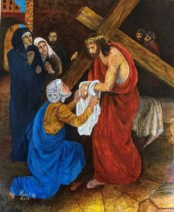 Saint Veronika wiped Jesus face