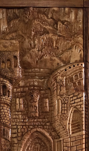 Wood carving, Old Town 10.5x26.5 in, by Mona William original artwork